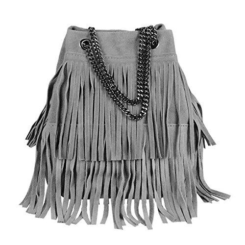 OBC Made in Italy Damen Tasche mit Kette/Kettentasche Bucket Bag Fransen Wildleder Kroko Handtasche Umhängetasche Schultertasche Beuteltasche (Dunkelgrau 20x25x19 cm)