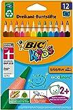 BIC Kids Evolution Triangle ECOlutions, Lapices de Colores Triangularas - Óptimo para la Escuela - Colores Surtidos, Paquete de 12 Unidades