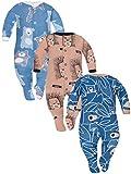 Sibinulo Jungen Mädchen Schlafstrampler mit ABS 3er Pack Marineblau trägt auf den Blättern Igele Marineblau Bären 92(18-24 Monate)