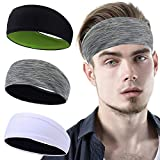 YOSUNPING Sports Headbands & Sweatbands for Men Women - Workout Hairbands for Running, Yoga, Tennis, Racquetball, Cross Training, Crossfit, Basketball, Cycling -3pcs - Stripe Gray/White/Black&Green