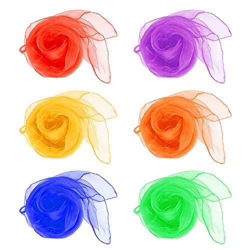 Leisial 12pcs Bailar Pequeño Pañuelo de Seda Pañuelos de Malabares Bufandas de Danza Pañuelos Square para los Niños Multicolor