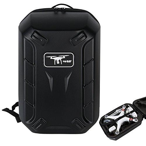 HMF 18608-02 Rucksack Hartschale, Transporttasche passend DJI Phantom 2 und 3 Standard, Professional, Advanced Drohne, 42 x 39 x 28 cm, schwarz