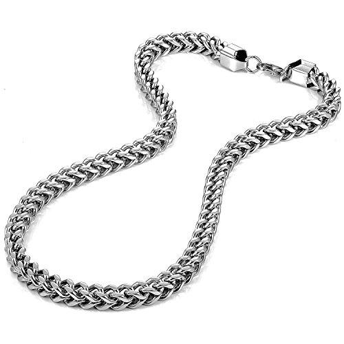 Urban-Jewelry 53,5 - Collana da uomo in acciaio INOX, spessore 8 mm, colore: Argento