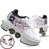 Patines En Línea, Zapatos Multiusos 2 En 1, Zapatos con Ruedas para Adultos, Patines Ajustables para Niñas, Zapatillas Informales para Niños Y Adultos,E-EU35/UK4.5