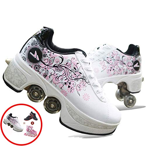Inline-Skate, 2-in-1-Mehrzweckschuhe, Kinderschuhe Mit Rollen Skate Shoes Rollen Schuhe Sportschuhe Laufschuhe Sneakers Mit Rollen Kinder Jungen Mädchen,I-35