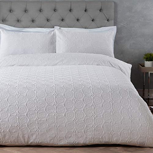 Sleepdown Juego de Funda de edredón con Fundas de Almohada, diseño de Girasol, Color Blanco, tamaño King (220 x 230 cm)