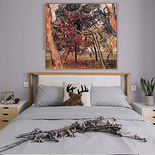 Van Gogh Estudio de imágenes de árboles de pino Pintura de lienzo vintage Póster e impresión Imágenes artísticas de pared para la decoración del hogar de la sala de estar (65x65cm) sin marco