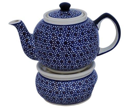 Original Bunzlauer Keramik Retro-Teekanne mit Stövchen 1.00 Liter im Dekor 120
