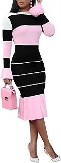 Women Long Sleeve Bodycon Sweater Dresses 2 Piece Color Block Ruffle Knit Midi Dress