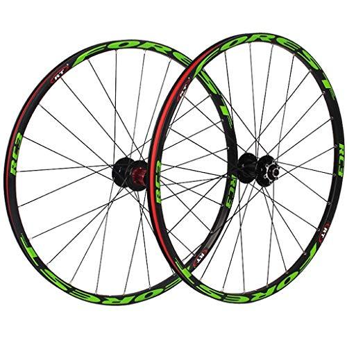 Mountain Bike Wheelset 26 Inch, Double Wall MTB Bike Rim Cycling Hub 5 Palin Hybrid Quick Release 24 Hole 8/9/10 Speed