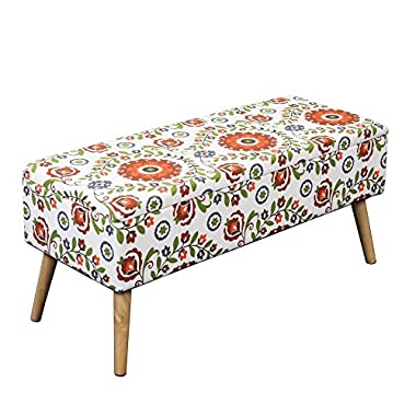 Otto & Ben 37 Inch Storage Ottoman Bench with Easy Lift Top Upholstered Mid Century Large Shoe Entryway and Bedroom, Retro Floral