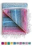 Mexican Blanket, Falsa Blanket | Authentic Hand Woven Blanket, Serape, Yoga Blanket | Perfect Beach Blanket, Navajo Blanket, Camping Blanket, Picnic Blanket, Saddle Blanket, Car Blanket (Mandarin)