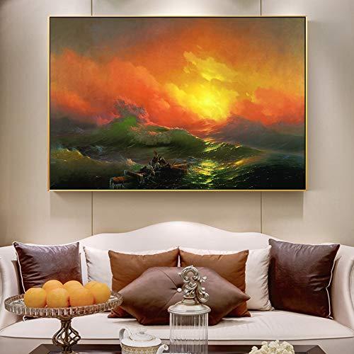 SADHAF beroemde afbeelding klassiek zeelandschap op canvas, muurschildering, woonkamer, decoratie voor thuis 60x80cm (sin marco) A4