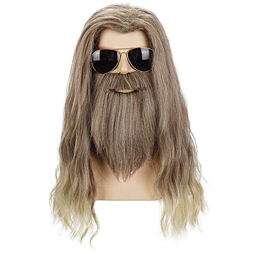 Morvally Adult Men Long Curly Golden Brown Beard Wig for Cosplay Halloween Anime Costume Party