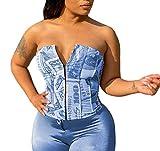 Women Dollar Money Print Corset Bandeau Tube Crop Tops Bustier Criss Cross Lace Up Tank Bra