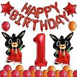 Juego de globos Bing Bunny, decoración de la fiesta de primer cumpleaños de los niños, globo sónico de globo temático de 1 año, globo colgante inflable, decoración de baby shower