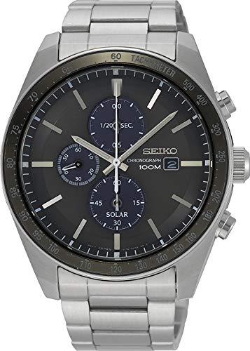 Seiko Herren Chronograph Solar Uhr mit massives Edelstahl Armband SSC715P1