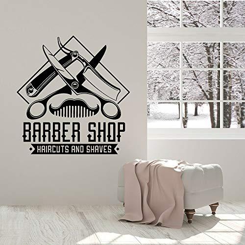 HGFDHG Calcomanías de Pared de peluquería para Cortes de Pelo y Herramientas de Corte de Pelo de Afeitado para Hombres decoración de Interiores de barbería Pegatinas de Vinilo para Ventanas murales