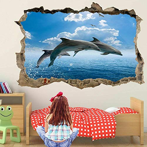 Dolphin Jump 3D Wall Art Sticker Mural Decal Poster Printing Children's Room Decoration FP23