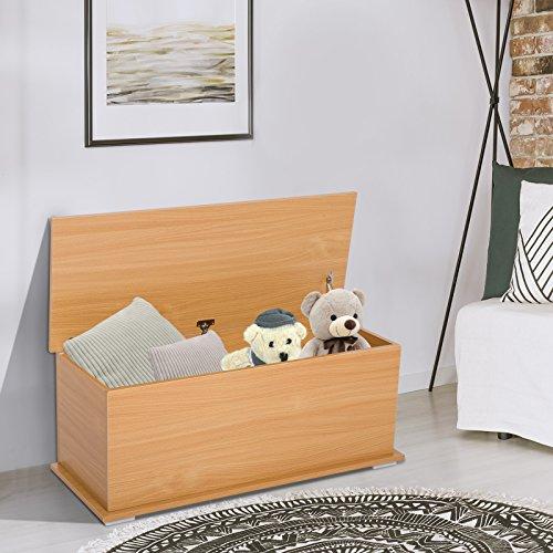 HOMCOM Truhe Aufbewahrungsbox Holzkiste mit klappbarem Deckel Spanplatte Buche 100 x 40 x 40cm - 2