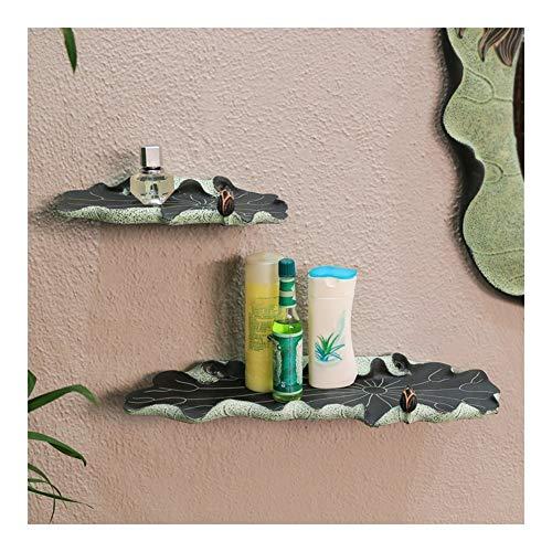 Best Bargain WAHOUM Bathroom Shelf Wall Mounted Floating Shelves Set of 2 Storage Rack Creative Lotus Shape Shower Caddy Hotel Home Decor, 2 Colors, 2 Sizes (Color : A)