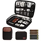 Cable Organizer Bag,Travel Electronic Organizers Bag Waterproof Tech Organizer Bag Portable Cord Storage Pouch for Cable, Charger, Phone, USB, SD Card,with 6pcs Leather Cable Ties (Black)