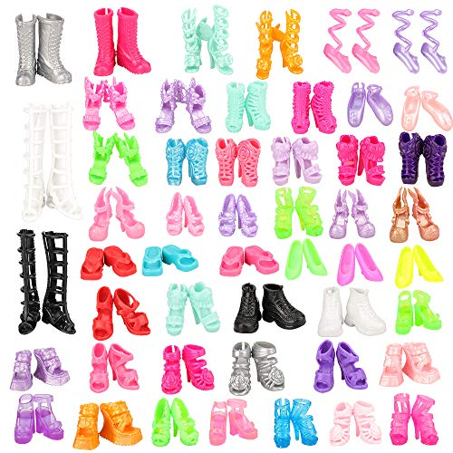 Barwa 50 Pairs Shoes Different High Heel Boots Accessories Shoes for 11.5 inch Girl Doll