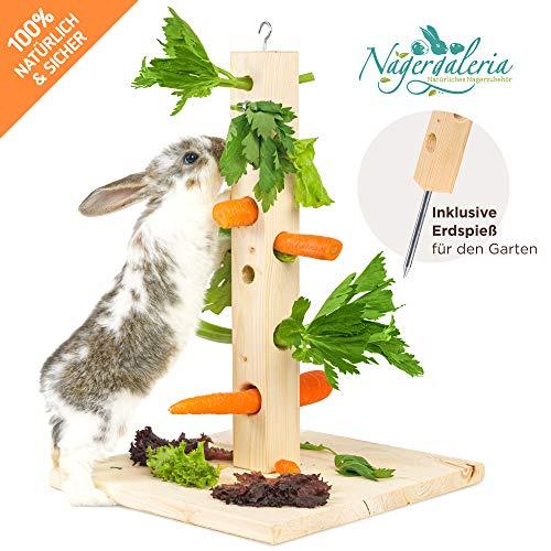 Nagergaleria Futterbaum mit Bodenplatte aus Holz und Erdspieß fürs Freigehege für Kaninchen u. Meerschweinchen