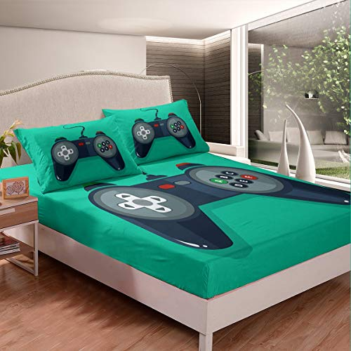 Feelyou Boys Game Theme Bed Sheet Set Video Game Gamepad Bedding Set for Kids Teens Novelty Modern Game Controller Fitted Sheet Gamer Bed Cover Room Decor 3Pcs Sheets Full