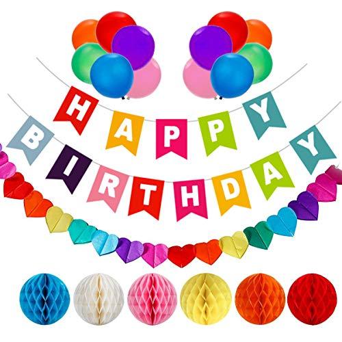 AOBETAK - cumpleaños decoraciones, 1 pancarta de feliz cumpleaños, 6 bolas de abeja, 1 guirnalda en forma de corazón y 12 globos, suministros de fiesta para niñas, niños, mujeres y hombres …