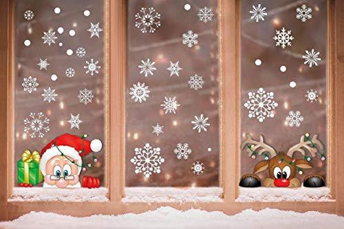 Voqeen Navidad Pegatina Calcomanías para Ventanas Lindo Decoración de Ventanas Espiar Santa Claus Rudolph Calcomanías electrostáticas Ventanas