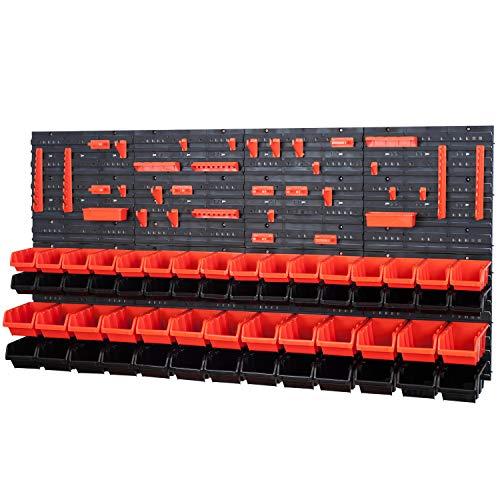 58 Stapelboxen mit Wandregal 160 x 80 cm | lager wandplatten lagerregal