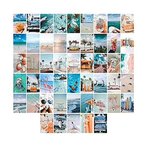 FENRIR 50 Stück Summer Ästhetisches Bild für Wandcollage, 4x6 Zoll Sommer Strand Collage Druck Set,Raumdekoration für Mädchen Blau Wandkunstdruck, VSCO Poster für Schlafzimmer