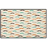 Indie Floor Door Mat 24x16 Retro Mustache Pattern in Stylized Curly Shapes Old Fashioned Inside Doormat and Back Door Mat