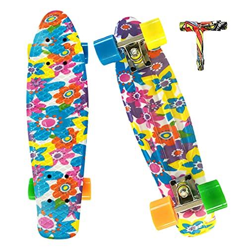 EYLIFE Kinder Skateboard ab 3 Jahre, Mini Cruiser Retro Skateboard mit ABEC-7 Kugellager, Komplett Skateboards mit All-in-One Skate T-Tool, Belastung 100kg
