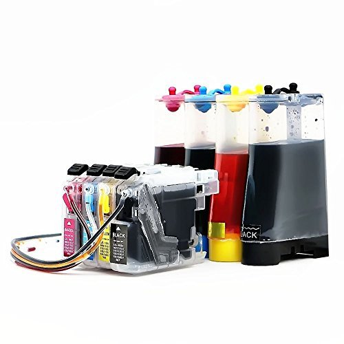 INKUTEN CISS System for Brother LC101 LC103 LC 103 Refill Ink Cartridges for Brother MFC-J4310DW MFC-J4410DW MFC-J4510DW MFC-J4610DW MFC-J4710 MFC-J470DW MFC-J475DW MFC-J870DW MFC-J875DW Printers