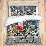 Funda nórdica de 3 Piezas, Feliz Papá Noel Montando en Bicicleta, Juego de Cama de Calidad con 1 Funda y 2 Fundas de Almohada Estilo