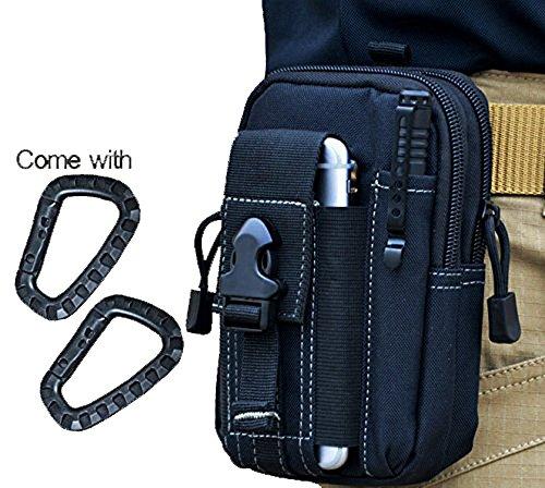 Wynoz Negro 1000d Nylon Duro Deber táctico Molle Mochila Bolsa EDC Universal Casual Outdoor Gear Llevar Kit Capacidad Herramienta riñonera para cinturón para iPhone 6S Plus Samsung Note 5