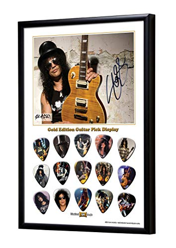 We Love Guitars Slash Gold Gitarre Plektrum Framed Gerahmt Display Gitarren Picks (L50)