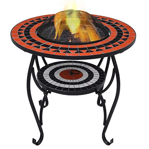 Buy Unfade Memory Patio Firepit Table Mosaic Fire Pit Tables with Spark Screen Cover 26.8 Ceramic F...