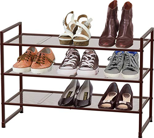 Simple Houseware 3-Tier Stackable Shoe Shelves Storage Utility Rack, Bronze
