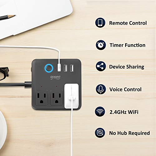 Gosund Smart Power Strip Work with Alexa Google Home, Smart Plug WiFi Outlets Surge Protector with 3 USB 3 Charging Port for Cruise Ship Travel Multi Plug Extender,10A