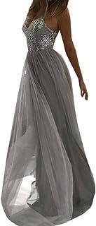 Bluestercool Damen Abendkleid Sexy Fashion Bodycon Kleid Pailletten Prom Party Ball Gown Cocktailkleid Brautjungfernkleid lang Dress Medium Gris-5