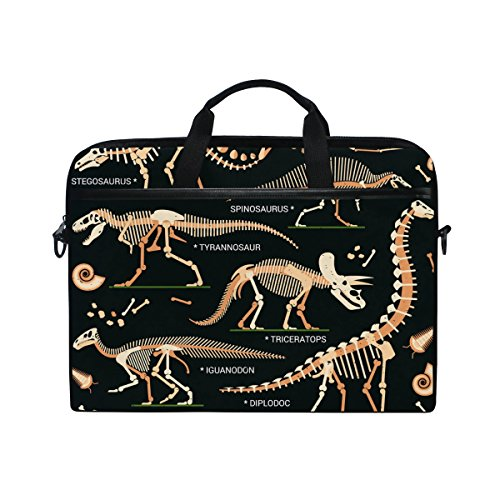 15-Inch Laptop Bag Dinosaur Skeleton Canvas Shoulder Messenger Sleeve Case Tablet Briefcase