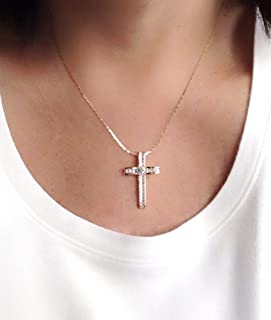 18k Rose Gold Plated Big Cross Pendant Necklace for Women 18 Inches