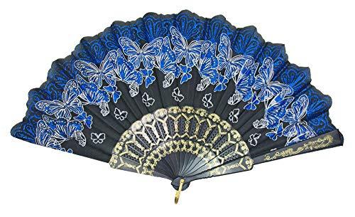 Das Kostümland Glitzer Handfächer mit Schmetterlingen - Schwarz/Royalblau