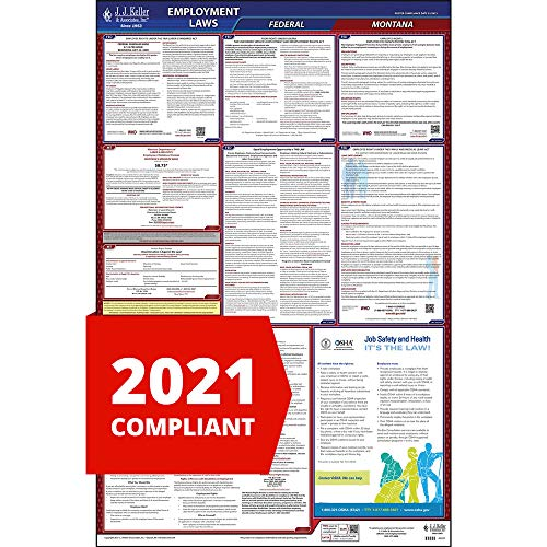 "2021 Montana Labor Law Poster, All-in-One OSHA Compliant MT State & Federal Laminated Poster (26"" x 40"" English) - J. J. Keller & Associates"