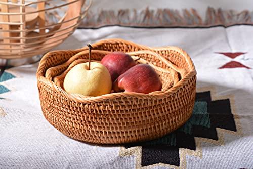 Cestini Portaoggetti Rotondi in Rattan Cesto Frutta Tessuta Impilabile per Armadi da Cucina Scaffale Naturale Set di 3