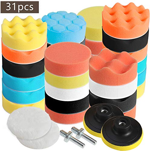 Faburo 31pcs Polishing Pads Sponge Wool Polishing Waxing Buffing Pads Kit for Auto Car Polishers, 27pcs Polishing Pads with 2pcs M10 Drill Adapters for Car Polishing, Sanding, Waxing