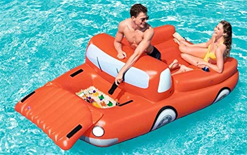 SADDPA 2 Person Inflatable Giant Car Pool Float with Cooler Cup Holder Swimming Pool Party Floating Boat Water Lounger Air Mattress (Color : Car)